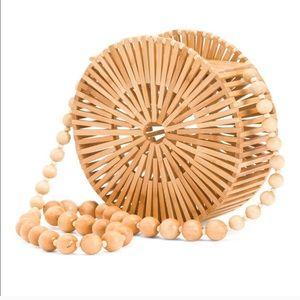 Bamboo caged shoulder bag